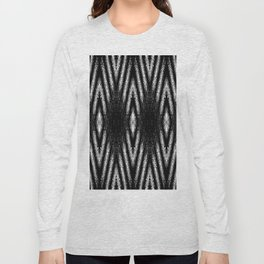 Geometric Black and White Diamond Tribal-Inspired Pattern Long Sleeve T-shirt