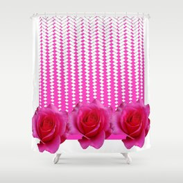 MODERN ART FUCHSIA PINK ROSE PATTERN Shower Curtain