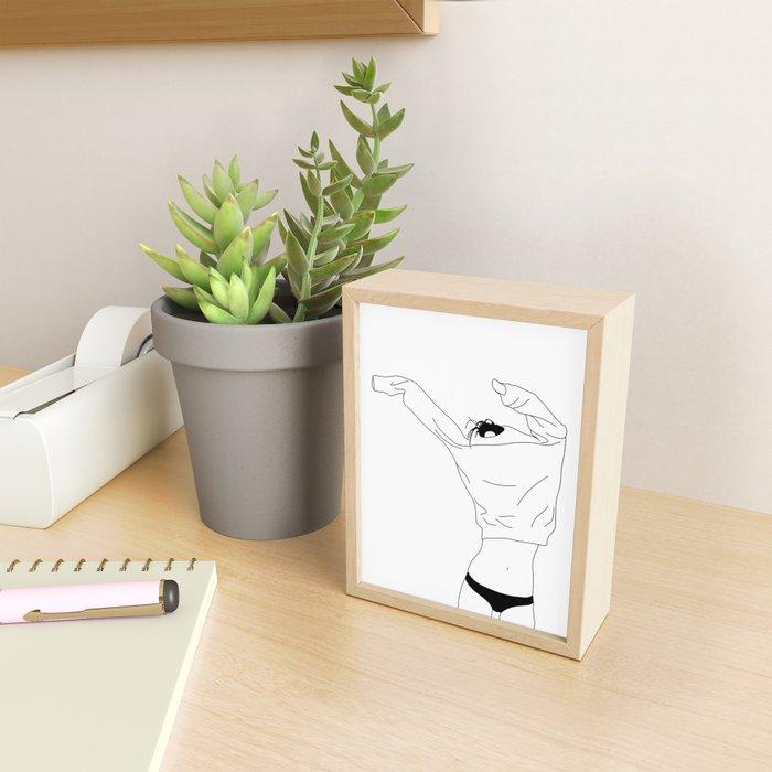 Fashion illustration line drawing - Cadee Framed Mini Art Print
