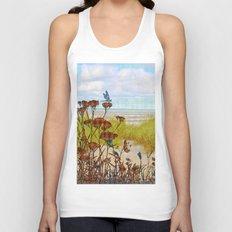 Plaid Beachscape with Dragonflies Unisex Tank Top