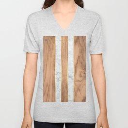 Wood Grain Stripes - White Marble #497 Unisex V-Neck