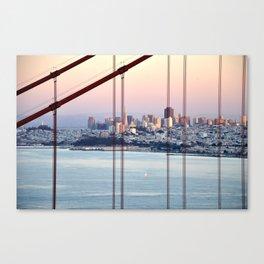 SAN FRANCISCO & GOLDEN GATE BRIDGE AT SUNSET Canvas Print