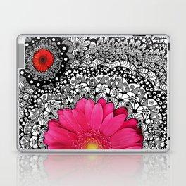 Pink Flower Black White Doodle Art Collage Laptop & iPad Skin