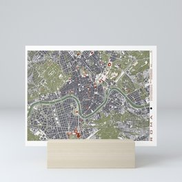 Rome city map engraving Mini Art Print
