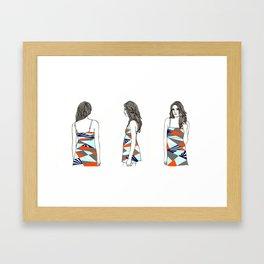 I'm here, here and here Framed Art Print