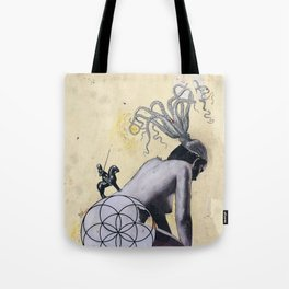 Resurgence - Mixed Media Abstract Collage Art Octopus Seed of Life Nude Tote Bag