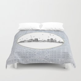 Detroit, Michigan City Skyline Illustration Drawing Duvet Cover