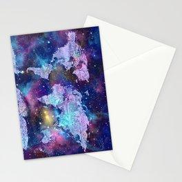 world map galaxy purple Stationery Cards