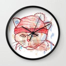 watercolor cat Wall Clock