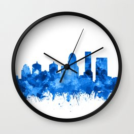 louisville skyline watercolor blue Wall Clock