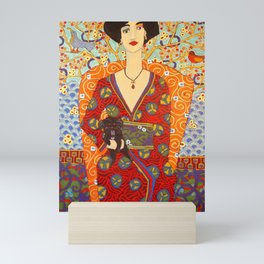 Geisha with Petey Mini Art Print