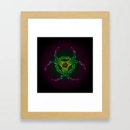 An illustration of a fluorescent biohazard symbol.  Framed Art Print
