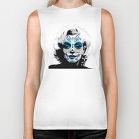 marylin monroe Biker Tanks featuring Marylin de los Muertos 2 by jazzyjules63