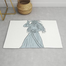 Ankou Henchman of Death With Scythe Drawing Rug