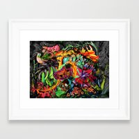 jazzberry Framed Art Prints featuring Just another day in the jungle by Donuts