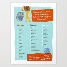 Planepack packing checklist Art Print