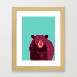Bear poster, Brown bear, Happy bear wall art, GRIZZLY BEAR, animal bear, pop art poster Framed Art Print