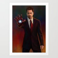 tony stark Art Prints featuring Tony Stark by Slugette