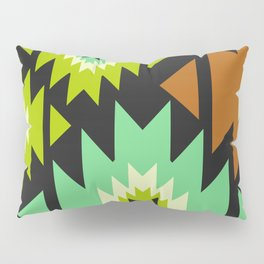 Ethnic shapes in green and brown Pillow Sham