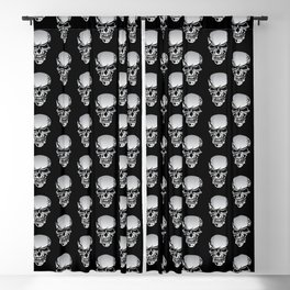 Chrome Skull Illustration Blackout Curtain