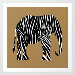 Zebra Elephant Safari Art Print