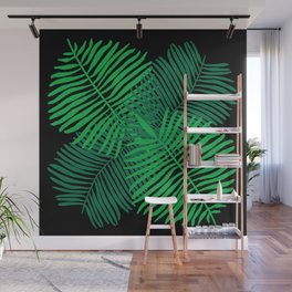 Modern Tropical Palm Leaves Painting black background Wall Mural