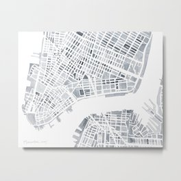 Map Manhattan Gray NYC Metal Print