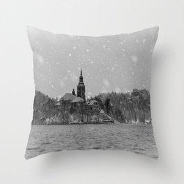 Snowy Bled Island Mono Throw Pillow