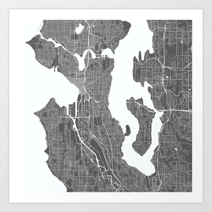 Seattle Usa Modern Map Art Print Art Print By Myplaceprints Society6