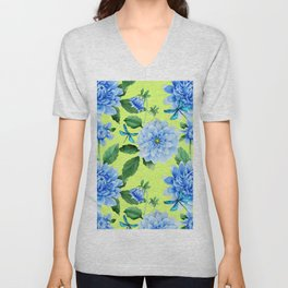 Modern blue lime punch watercolor dahlia floral pattern Unisex V-Neck