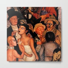 Classical Masterpiece 'Night of the Rich' by Diego Rivera Metal Print