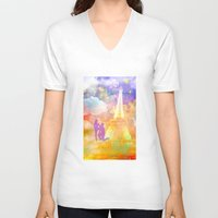 eiffel V-neck T-shirts featuring space Eiffel  by haroulita