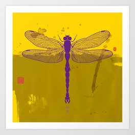 Big Dragonfly In Purple And Yellow Art Print