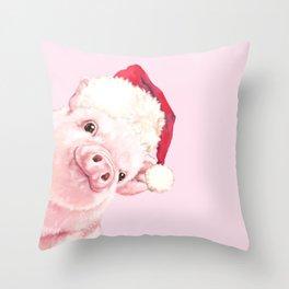 Sneaky Santa Baby Pig Throw Pillow