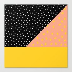 Peach Fuzz Black Polka Dot /// www.pencilmeinstationery.com Canvas Print