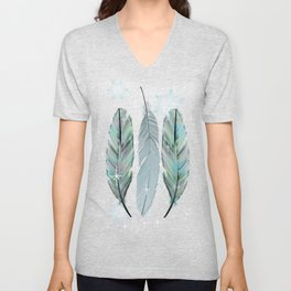 Feathers in the Winter Sky with Snowflakes Unisex V-Neck