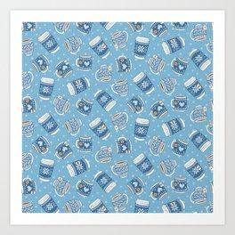 Cozy Blue Mugs Art Print