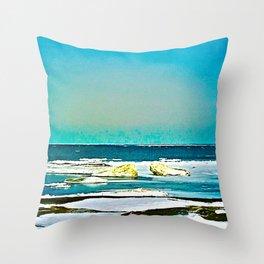 Lake Huron Winter Throw Pillow