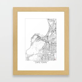 Cape Town Map White Framed Art Print