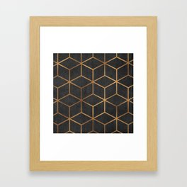 Charcoal and Gold - Geometric Textured Cube Design I Framed Art Print