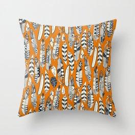joyful feathers orange Throw Pillow