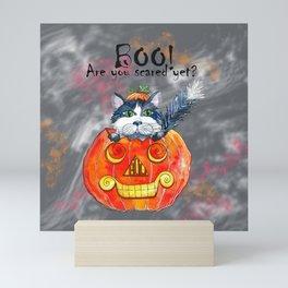 Black Cat Boo! Mini Art Print