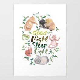 Good Night Sleep Tight Art Print