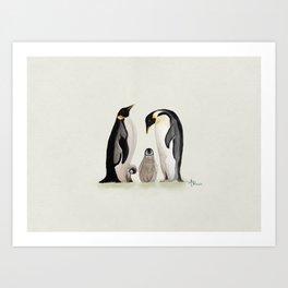 Penguin Family Watercolor Art Print