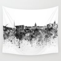dublin Wall Tapestries featuring Dublin skyline in black watercolor by Paulrommer