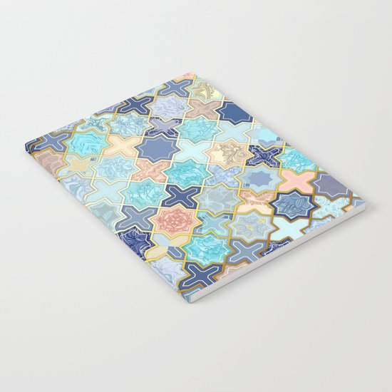 Cream, Navy and Aqua Geometric Tile Pattern Notebook
