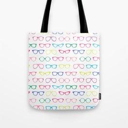 Retro Vintage Nerdy Glasses Pattern Tote Bag