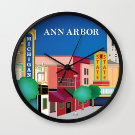 Ann Arbor, Michigan - Skyline Illustration by Loose Petals Wall Clock