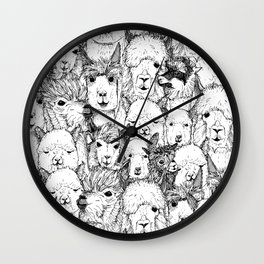 just alpacas black white Wall Clock