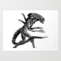 xenomorph Art Prints featuring Xenomorph by Carla Beltra